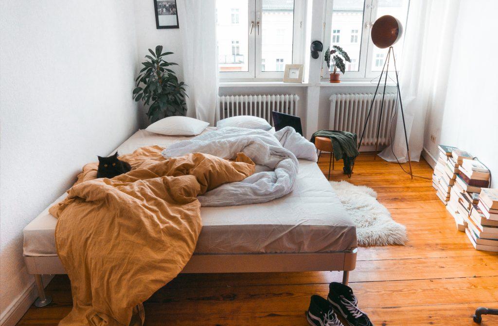 Blick auf ein ungemachtes Bett mit schwarzem Kater, Stehlampe und Bücher
