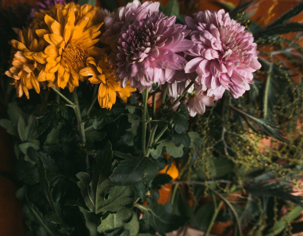 Fridlaa bastelt einen unkonventionellen Adventskranz und zeigt eine Nahaufnahme der Blumen-Dekoration