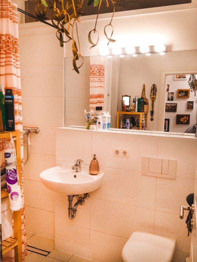 Das Leben am Platzlimit - Fridlaa ihr Duschbadezimmer in ihrer kleinen ersten Wohnung Berlin mit 1,5 Zimmern