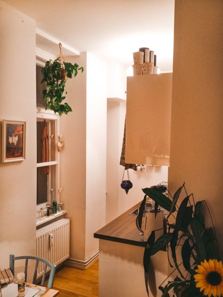 Das Leben am Platzlimit - Carlas 30 Quadratmeter und nur 1,5 Zimmern im Hinterhof von Berlin und deer Blick in die offene Küche